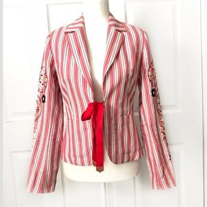 OiLILY  Red Striped Embroidered Jacket